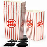 Chefast Small Popcorn Box Pack - 30x Red and White Striped Mini Boxes With 10x Chalkboard Stickers - Ultimate Party Favor - Perfect for Birthday and Theater Themed Parties, Movie Nights, and Carnivals