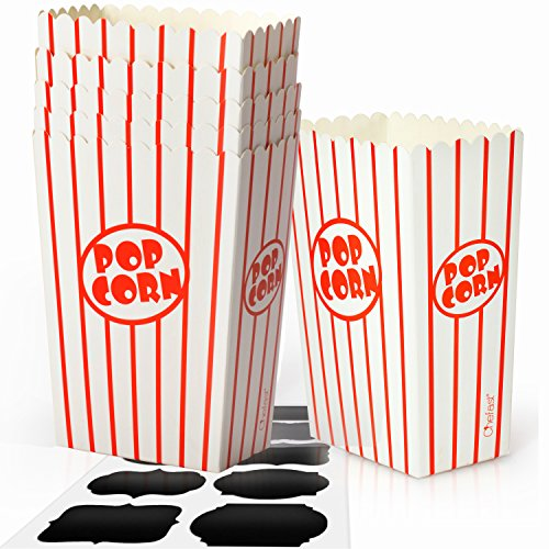 - Chefast Small Popcorn Box Pack - 30x Red and White Striped Mini Boxes With 10x Chalkboard Stickers - Ultimate Party Favor - Perfect for Birthday and Theater Themed Parties, Movie Nights, and Carnivals