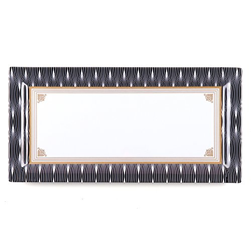 - Q Squared Essex BPA-Free Melamine Small Rectangle Platter, 14 by 7-Inches, Black and Gold Lame