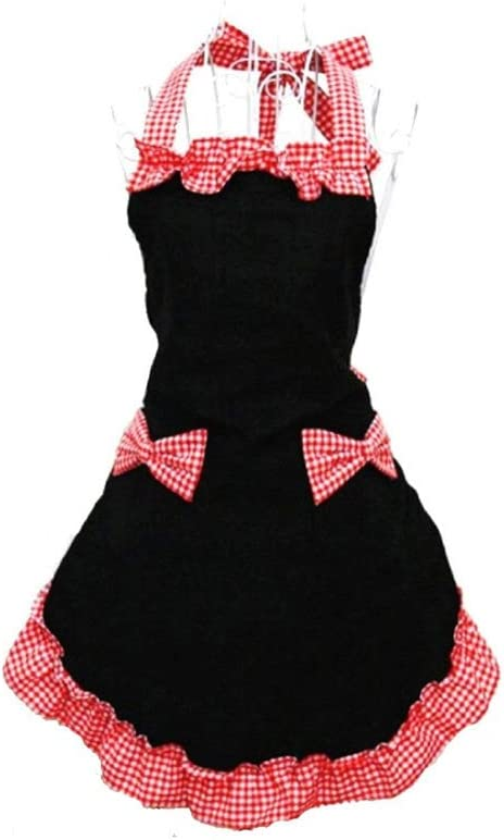 sexy personalizzati Hanerdunn per cucinare con 2 tasche per le donne Nero e rosso. grembiuli pinafore con volant nero grembiuli da cucina vintage da donna