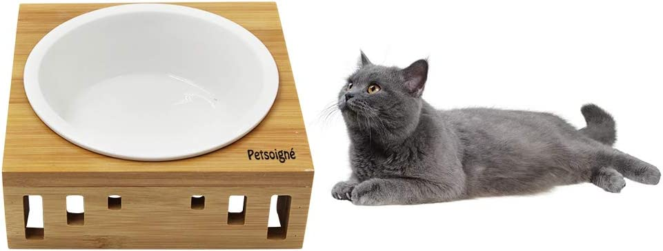 1 Bowl, Ceramic Petsoign/é Basic Cat Bowls with Wooden Stand Pet Dining Table Cat Feeder with Raised Bamboo Stand for Cats and Puppy