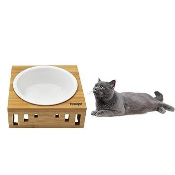 Petsoign/é Cuenco para Gatos Perros Elevado Plato Gato Perro en Cer/ámica//Acero Inoxidable con Soporte de Bamb/ú Cuencos Reemplazables, Cer/ámica