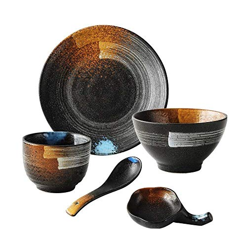 Retro Ceramic Hand Painted Tableware Set Soup Bowl/rice Bowl/plate/spoon, 1 People Japanese Style Tableware Set (Color : Black)