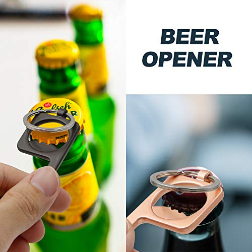 No Touch Door Opener Tool,No Touch Hand Tool Multitools Non-Contact Door Opener with Bottle Opener, Key Ring 4PCS (Style Two)