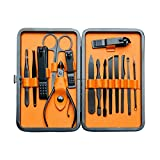 Euryno Professional Stainless Steel Black Polishing Nail Clipper Travel & Grooming Kit Nail Tools Manicure & Pedicure Set of 15 pcs with Stylish Case(Orange)