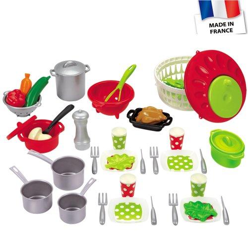 Ecoifffier Puppenservice mit Salatschleuder, Kochgeschirr und Spiellebensmittel