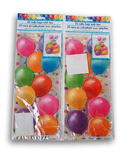 (Happy Birthday Balloons Party Favor Loot Bag - 50 Count )