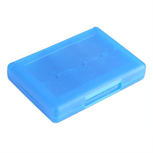 28 in 1 Games Estuche de plástico Anti-shock titular de almacenamiento Micro SD tarjeta de memoria funda para Nintendo 3DS DSL DSI LL(Azul)