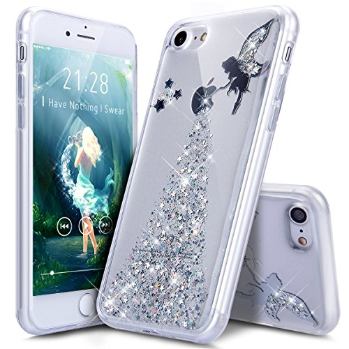 iPhone 8 Case,iPhone 7 Case,ikasus Crystal Clear Bling Glitter Sparkle Angel Girl Star Ultra Slim Flexible Frame Silicone Soft TPU Bumper Rubber Protective Case for Apple iPhone 8 / iPhone 7,Silver