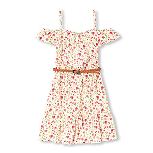 The Children's Place Girls' Big Graphic Printed Cold Shoulder Midi Dress, Simplywht, L (10/12)