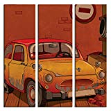 JP London 3 Panels At 16in by 48in Triptych 3 Huge Gallery Wrap Canvas Wall Art Cartoon VW Punch Buggy Mystery Machine At Overall 4 4 Feet LTCNV2215, Extra Large