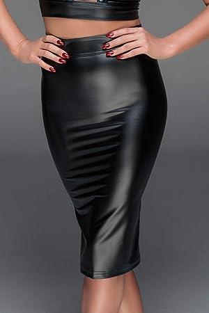Negro Handmade falda efecto mojado con laçages F152 talla XXL ...