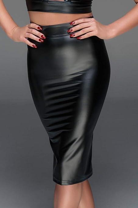 Negro Handmade falda efecto mojado con laçages F152 talla ...