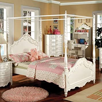 Victoria English Style Pearl White Finish Twin Size Youth Canopy Bed Frame  Set