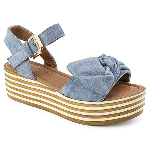 - RF ROOM OF FASHION Open Toe Oversize Bow Ankle Strap Platform Wedge Sandals Blue Size.8.5