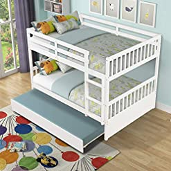 Bedroom HABITRIO Bunk Bed, Solid Wood Full Over Full Size Beds Frame w/Pull-Out Trundle, Ladder, Safety Guard Rail, No Box… bunk beds