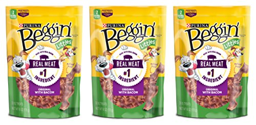 Beggin' Strips Purina Brand Dog Snacks - Littles - Original With Bacon - Net Wt. 6 OZ (170 g) Per Package - Pack of 3 Packages (Total of 18 OZ)