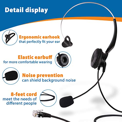 LotFancy Calltel Headset Headphone with Mic for Cisco IP