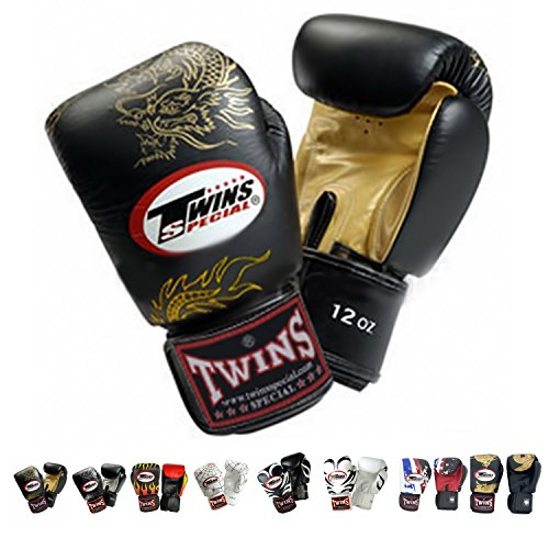 Twins Special Boxing Gloves (Dragon Black Gold) (16 Ounce)