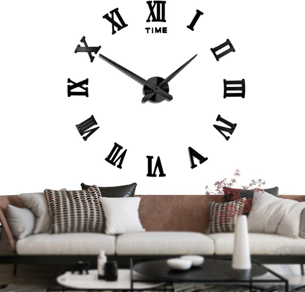 Silenciar DIY Frameless Gran Reloj de Pared Números Romanos 3D Relojes de Pared Espejo Pegatina Para Ministerio del Interior Decoraciones - 2 Años de Garantía (Negro)