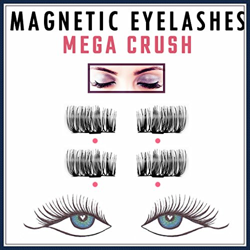 MegaCrush False Magnetic Eyelashes Premium Selection | Magic 3D Fake Lashes Extension, Eyelashes with Magnets, No Glue | Natural Look & Handmade & Ultra Soft | Cruelty Free One Two Cosmetics