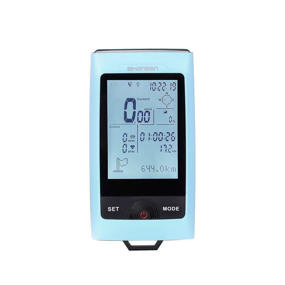 Shanren GPS Bike Computer, Bluetooth Smart Bicycle Computer with Warning Light & Bike Front light, Speed/Cadence/Heart Rate Functions Enabled – Blue