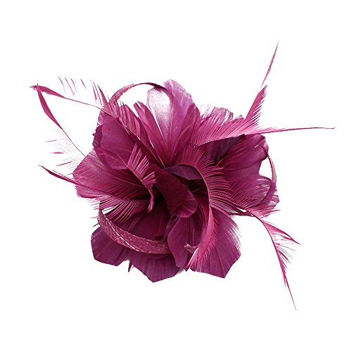 CHUANGLI Feather Headware Fascinator Hair Clip Plume Pillbox Cocktail Derby Hat Hair Accessories Fuchsia - 1920's Costumes Melbourne