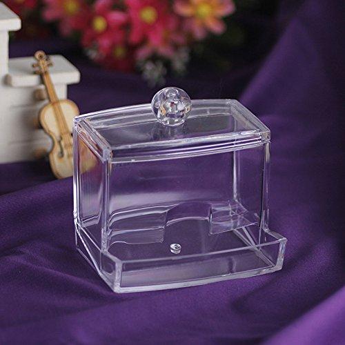 Mysweety Crystal Clear Cotton Swabs Holder Balls Box Cosmetics Makeup Storage Organizer