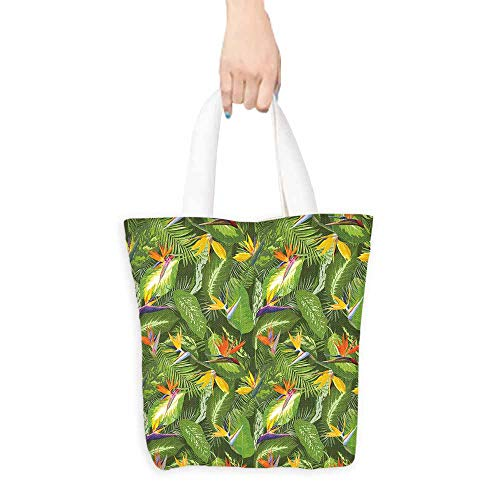 Leaf tote bag for women Fresh Brazilian Forest Untouched Jungle Paradise Tropical Foliage Flowers Foldable 16.5