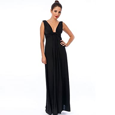 Blossoms Long Black Knot Panel Grecian Maxi Evening Dress 8-16 - Uk Size 12