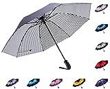 Fidus Reverse/Inverted Automatic Windproof Folding Travel Umbrella - Compact Lightweight Portable Outdoor UV Protection Golf Umbrella For Women Men Kids(stripe white)