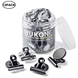 Wukong Strong Refrigerator Magnet Hook Clips with Neodymium Magnet, Magnetic Memo Note Clip Metal Clip Fridge Magnets Kitchen Magnets Calendar Magnets for Kitchen Office School Home Use, 12 Piece