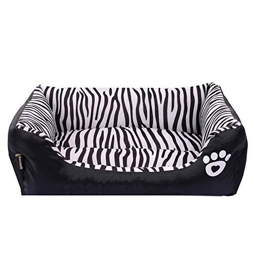 Black Zebra Dog - Urijk Soft Fleece Dog Rectangle Bed, Zebra Striped Warm Cozy Dog Cuddler with Non Slip Water-Resistant Bottom, Washable Cat Dog Cushion Bed for Small Medium Dog Cat Puppy
