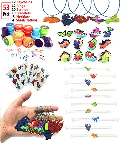 Dinosaur Party Favors Playset Include Dinosaur Bracelets,Necklace,Keychains,Rings,Tattoos,Stamps For Birthday Party,Classroom Rewards,Carnival Prizes,Pinata Filler,Treasure Box,Goodie Bag Fillers