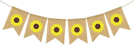KeaParty Sunflower Baby Shower Party Decorations Supplies Kit Sunflower Welcome Baby Banner Tissue Paper Fans Pom Poms Yellow Sunflowers Cupcake Toppers