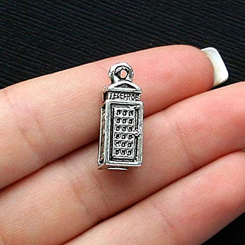 5 Telephone Booth Charms Antique Silver Tone 3 Dimensional for Pendant Bracelet DIY Jewelry Making