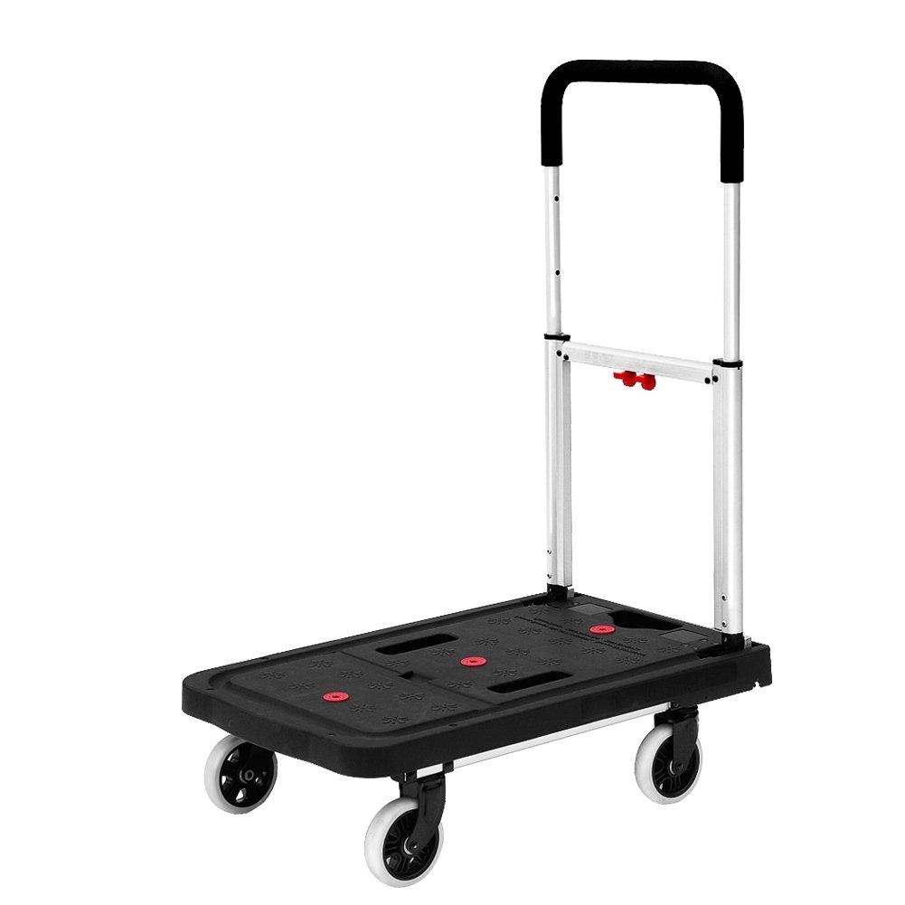Dolly Cart Flatform 300lb Capacity 4 Wheel Folding Platform Truck, 26'' Length x 16'' Width x 36'' Height