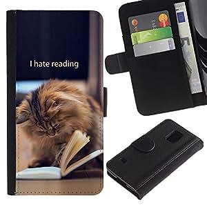 iKiki Tech / Cartera Funda Carcasa - Reading Book Funny Cat Longhair Brown - Samsung Galaxy S5 V SM-G900