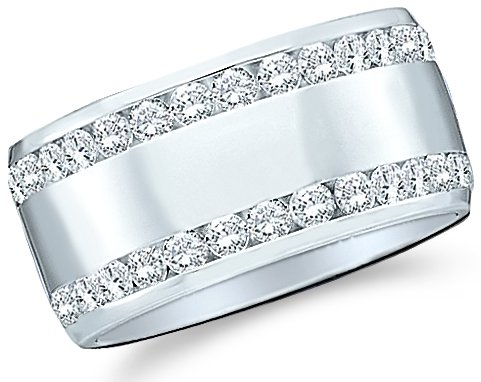 14k White Gold Round Cut Diamond Two Row Ladies Womens Channel Set Wide Wedding or Anniversary 8mm Ring Band (.53 cttw)