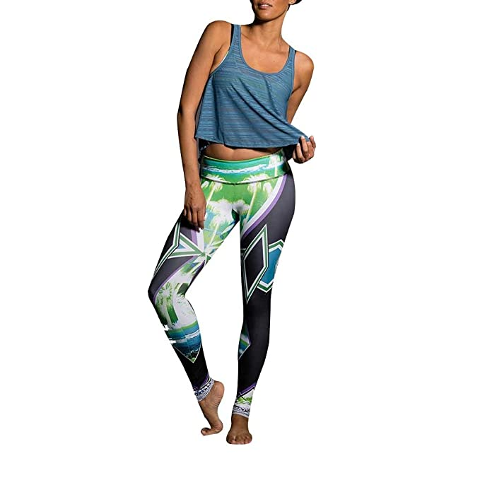 Amazon.com: Onzie Yoga Graphic Leggings 229 Palm Sunset ...