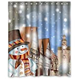 U Do Designs Mildew and Wrinkle Resistant 66'x 72' Curtain Fabulous tore Custom Happy nowman Bath Shower Curtains Coupon 2017
