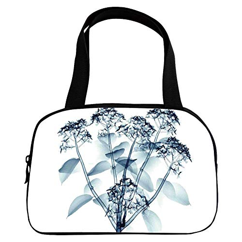Increase Capacity Small Handbag Pink,Xray Flower,Negative Image of Hortentia Flower Different X Ray Vision of Nature Photo Art,Teal White,for Girls,3D Print Design.6.3