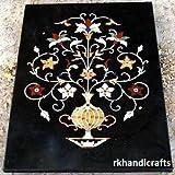 48'' x 36'' Rectangle Black Marble Luxury Flower Pot Inlay Multi Stones Sofa Table Top
