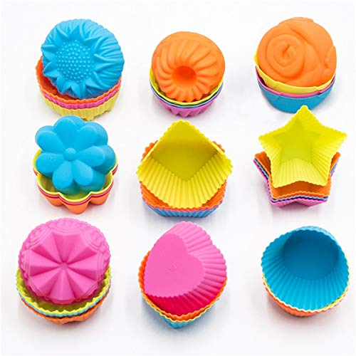 Giant Cupcake Mold (To encounter Silicone Cupcake Baking Cups 36 Pack Non Stick Cake Molds Sets 9 Shapes Silicone Muffin Pan for Baking BPA Free Silicone Muffin)