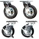 Service Caster - 6'' Black Pneumatic Rubber Wheel – 2 Swivel and 2 Swivel Casters w/Brakes - Set of 4