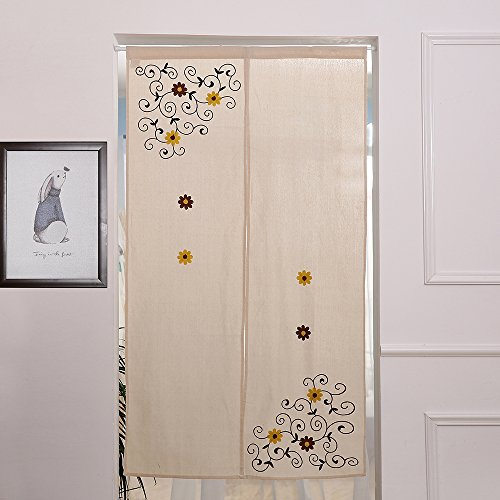 ZHH Hand Embroidered Classical Linen Cotton Door Curtain Flower Vine Pattern, 33 Inch x 59 Inch Review