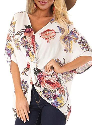 Womens Floral V Neck Twist Front Blouses Bat Wing Short Sleeve Chiffon Tops Shirts