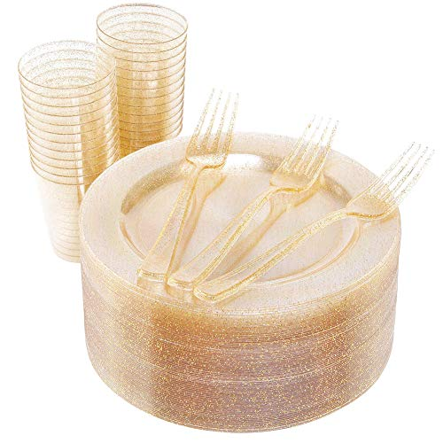 50 PCS Gold Glitter Salad Plates with 50 PCS Plastic Forks and 50 PCS Gold Disposable Cups 9oz, Shiny Dessert Plates 7.5 inch for Party (WELLIFE) ()