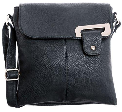 Big Handbag Shop - Bolso bandolera para mujer, tipo messenger, cruzado, tamaño mediano Azul Marino - Detalle Oro
