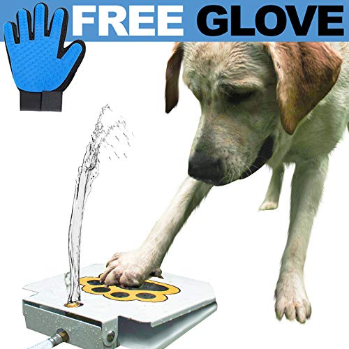 (Dog Water Fountain Sprinkler Dispenser with Free Dog Massage Glove)